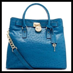 Michael Kors Large Hamilton Ostrich Embossed Tote